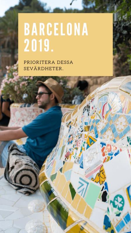 Barcelona 2019 Prioritera Dessa Sevärdheter Parc Guell Mosaik Bänk