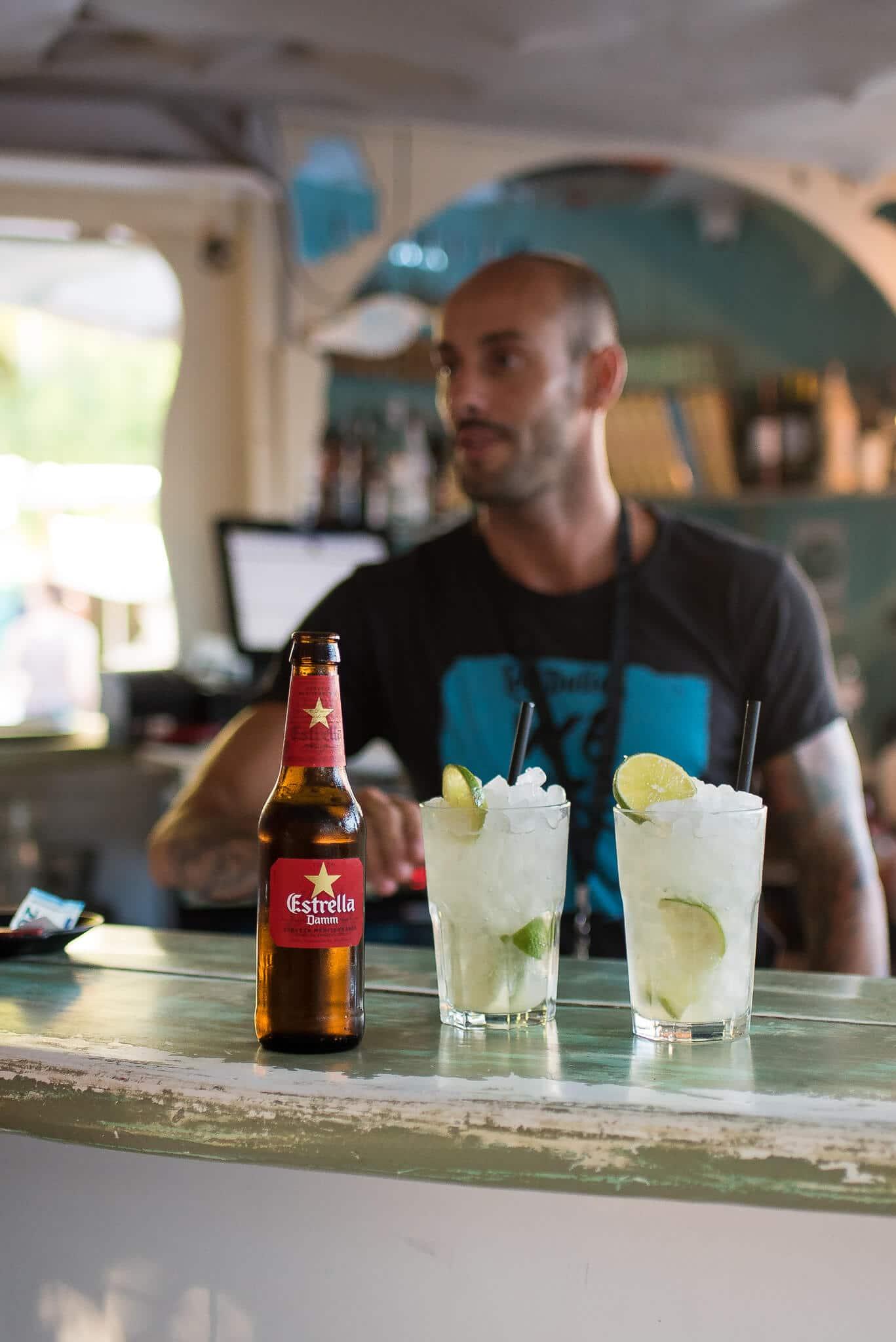 Ibiza Las Dalias Hippe Market Estrella Beer and Mojitos